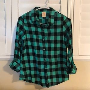 Faded Glory Plaid button down top